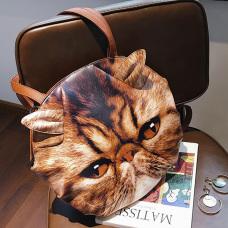 Fashion Cat Head Printed Brown PU Crossbody Bag