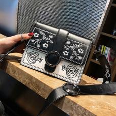 Fashion Embroidered Design Black PU Crossbody Bag