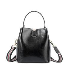 Leather Women's bag with fashionable waxy leather bucket bag handbag shoulder bag #95100
