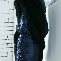 Fashion Faux Fur Design Black Wool Scarves