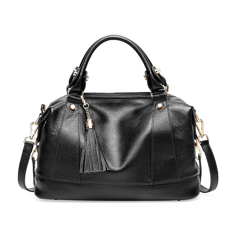 New leather women's bag stylish single shoulder bag tassel head layer cowhide handbag women's bag cross-body #95073