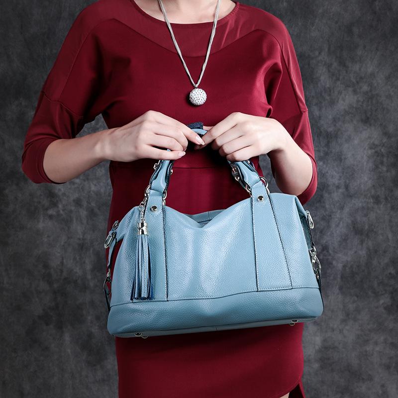 New leather women's bag stylish single shoulder bag tassel head layer cowhide handbag women's bag cross-body #95074