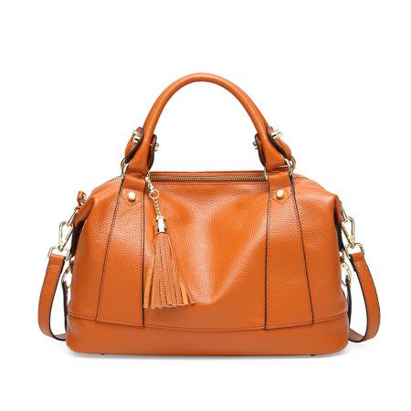 New leather women's bag stylish single shoulder bag tassel head layer cowhide handbag women's bag cross-body #95076