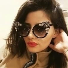 Euramerican Diamante Decorative Black PC Sunglasses