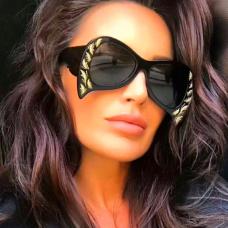 Fashion Irregular Frame Design Black PC Sunglasses