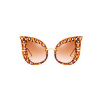 Fashion Pearl Decoration Leopard PC Sunglasses