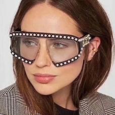 Fashion Pearl Trim Big Frame Design Black PC Sunglasses