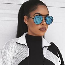 Euramerican Blue Metal Sunglasses