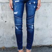 Euramerican Patchwork Dark Blue Denim Pants