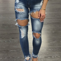 Leisure Broken Holes Embroidered Design Dark Blue Denim Pants