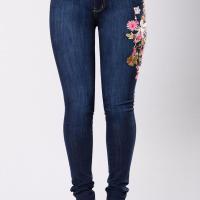 Stylish High Waist Embroidered Design Dark Blue Denim Pants