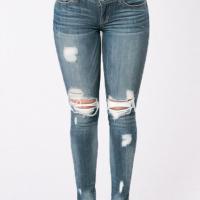 Stylish Mid Waist Broken Holes Blue Denim Pants