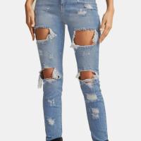 Trendy High Waist Broken Holes Baby Blue Denim Jeans