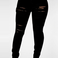Trendy High Waist Broken Holes Black Denim Skinny Jeans