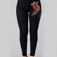 Trendy High Waist Embroidered Design Black Denim Pants
