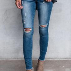 Trendy Mid Waist Broken Holes Blue Blending Pants