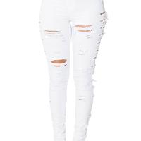 Trendy Mid Waist Broken Holes White Denim Zipped Jeans