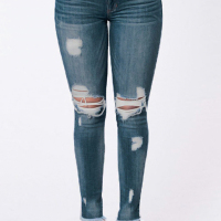 Trendy Mid Wasit Broken Holes Dark Blue Denim Pants