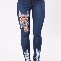 Stylish High Waist Broken Holes Dark Blue Denim Pants