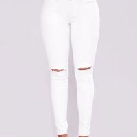 Stylish Mid Waist Broken Holes White Denim Pants