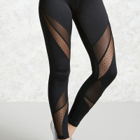 Fashion Mid Waist See-Through Net Yarn Splicing Black Polyester Leggings