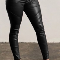 Fashion High Waist Black Leather Zipped Pants