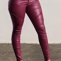 Fashion High Waist Wine Red Leather Zipped Pants