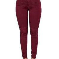Stylish Mid Waist Wine Red Cotton Blends Pants
