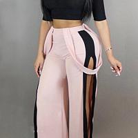 Stylish Elastic Waist Patchwork Pink Blending Pants