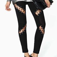 Stylish Mid Waist Hollow-out Black Milk Fiber Pants
