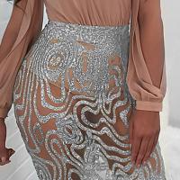 Sexy See-Through Silver Polyester Sheath Mini Skirts