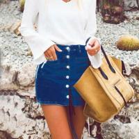 Stylish Buttons Design Dark Blue Denim Sheath Mini Skirts