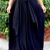 Trendy High Waist Black Polyester Pleated Skirts