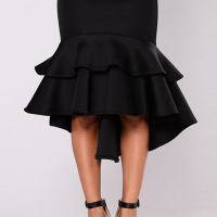 Stylish High Waist Falbala Design Black Cotton Mermaid Knee Length Skirts