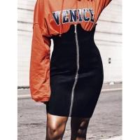 Stylish Zipper Design Black Polyester Sheath Mini Skirts