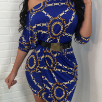 Euramerican Dew Shoulder Chain Printing Blue Polyester Sheath Mini Dress