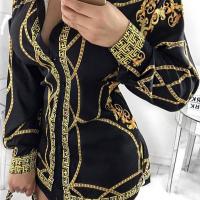 Euramerican Turndown Collar Printed Black Polyester Sheath Mini Dress