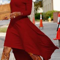 Fashionable Bateau Neck Dew Shoulder Wine Red Cotton Ankle Length Dress