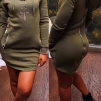 Leisure Long Sleeves Zipper Design Army Green Polyester Sheath Mini Dress