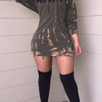 Leisure Round Neck Long Sleeves Printed Sheath Mini Dress