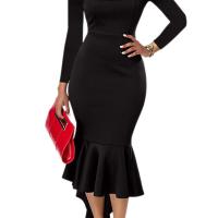 Sexy Bateau Neck Dovetail Shape Design Black Polyester Ankle Length Dress