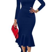 Sexy Bateau Neck Dovetail Shape Design Blue Polyester Ankle Length Dress