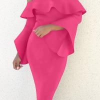 Sexy Bateau Neck Mandarin Sleeves Rose Red Polyester Knee Length Dress
