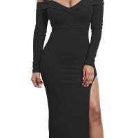 Sexy Bateau Neck Side Slit Black Milk Fiber Mid Calf Dress