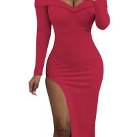 Sexy Bateau Neck Side Slit Wine Red Milk Fiber Mid Calf Dress