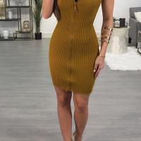 Sexy Bateau Neck Zipper Design Yellow Cotton Blend Mini Dress