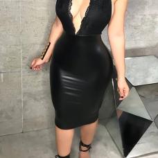 Sexy Deep V Neck Backless Lace Spliced Black PU Knee Length Dress