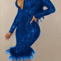 Sexy Deep V Neck See-Through Deep Blue Polyester Sheath Knee Length Dress