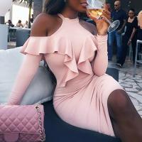 Sexy Hollow-out Falbala Design Pink Polyester Sheath Knee Length Dress