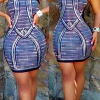 Sexy Sleeveless Printed Polyester  Sheath Mini Dress